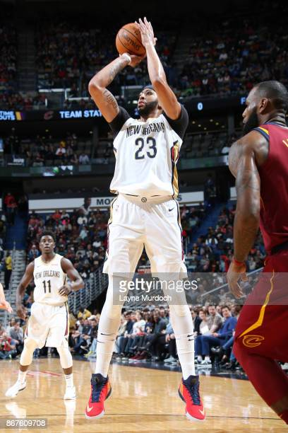 Anthony Davis of the New Orleans Pelicans shoots the ball against the Cleveland Cavaliers on October 28 2017 at the Smoothie King Center in New...