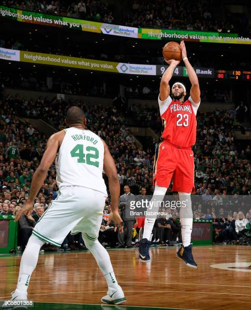 Anthony Davis of the New Orleans Pelicans shoots the ball against the Boston Celtics on January 16 2018 at the TD Garden in Boston Massachusetts NOTE...