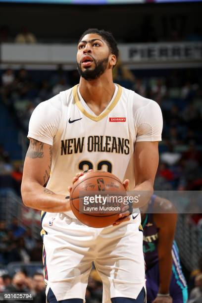 Anthony Davis of the New Orleans Pelicans shoots the ball from the freethrow line against the Charlotte Hornets on March 13 2018 at Smoothie King...
