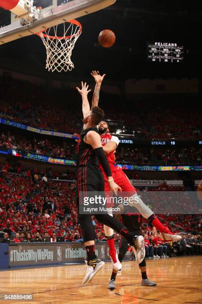 Anthony Davis of the New Orleans Pelicans shoots the ball over Jusuf Nurkic of the Portland Trail Blazers in Game Three of Round One of the 2018 NBA...