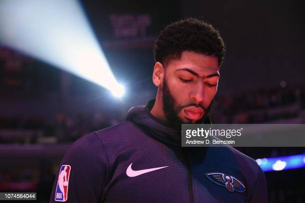 Anthony Davis of the New Orleans Pelicans stands for the National Anthem prior to a game against the Los Angeles Lakers on December 21 2018 at...