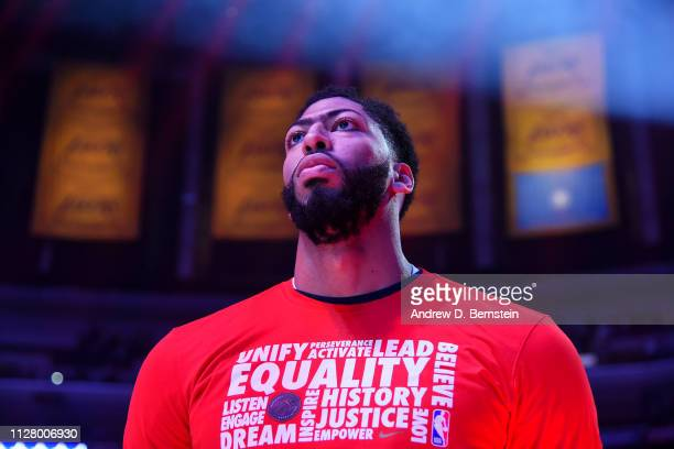 Anthony Davis of the New Orleans Pelicans stands for the national anthem before the game against the Los Angeles Lakers on February 27 2019 at...