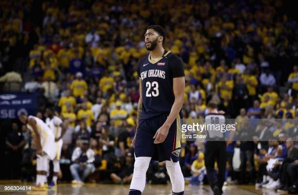 Anthony Davis of the New Orleans Pelicans stands on the court during the final minute o their loss to the Golden State Warriors in Game Five of the...