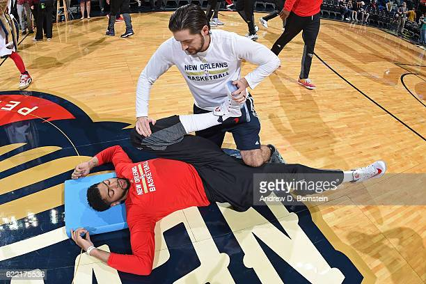 Anthony Davis of the New Orleans Pelicans stretches before a game against the Golden State Warriors at Smoothie King Center on October 28 2016 in New...