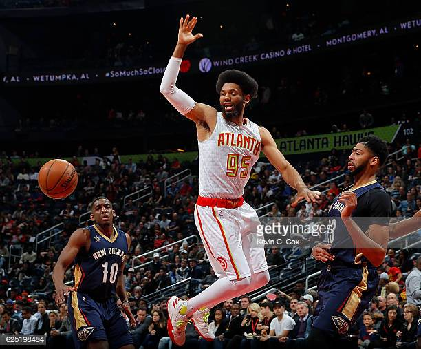 Anthony Davis of the New Orleans Pelicans strips the ball from DeAndre Bembry of the Atlanta Hawks at Philips Arena on November 22 2016 in Atlanta...