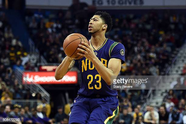 Anthony Davis of the New Orleans Pelicans takes a shot during the first half of a game against the Los Angeles Lakers at the Smoothie King Center on...
