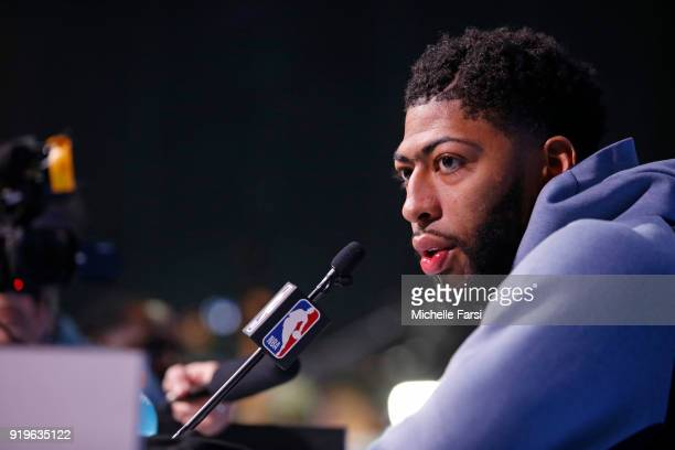 Anthony Davis of the New Orleans Pelicans talks to the media during NBA AllStar Media Day as part of 2018 NBA AllStar Weekend at the Los Angeles...