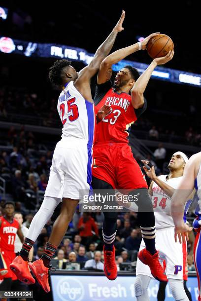 Anthony Davis of the New Orleans Pelicans tries to get a shot off over Reggie Bullock of the Detroit Pistons during the first period at the Palace of...