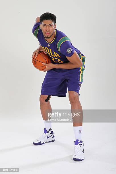415a3c6cb885 Anthony Davis of the New Orleans Pelicans unveils the Mardi Grasthemed  Pride uniforms to be worn