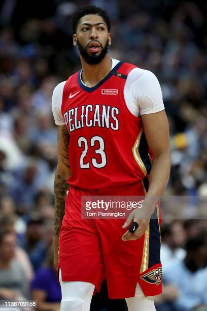Anthony Davis of the New Orleans Pelicans walks off the court against the Dallas Mavericks in the first half at American Airlines Center on March 18...