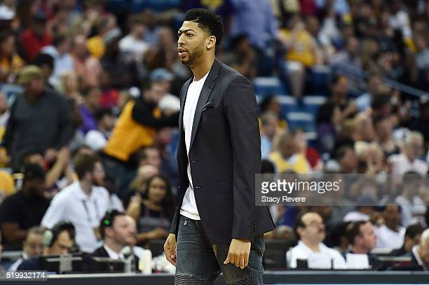 Anthony Davis of the New Orleans Pelicans watches action during a game against the Los Angeles Lakers at the Smoothie King Center on April 8 2016 in...