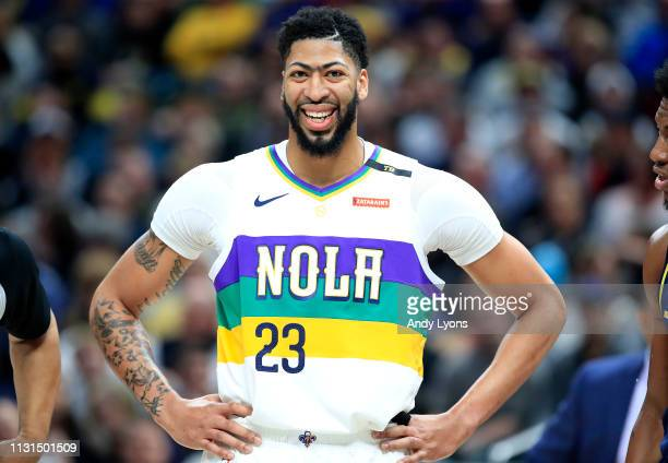 Anthony Davis of the New Orleans Pelicans watches the action against the Indiana Pacers at Bankers Life Fieldhouse on February 22 2019 in...