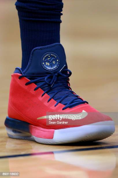 Anthony Davis of the New Orleans Pelicans wears a pair of Nike shoes during the second half of a NBA game against the Sacramento Kings at the...