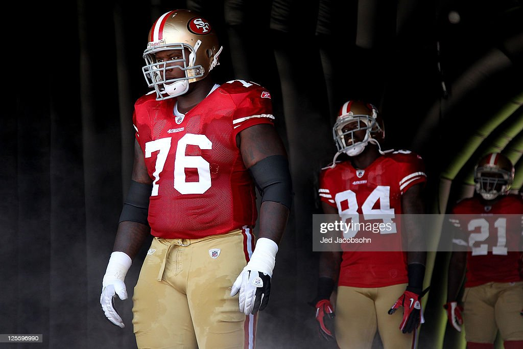 Anthony Davis #76 of the San Francisco 49ers looks on before his game against the Dallas Cowboys at Candlestick Park on September 18, 2011 in San Francisco, California.