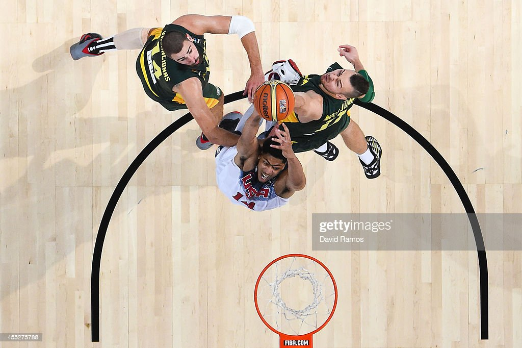 Anthony Davis #14 of the USA Basketball Men's National Team dunks the ball against the Lithuania Basketball Men's National Team during a 2014 FIBA Basketball World Cup semi-final match between USA and Lithuania at Palau Sant Jordi on September 11, 2014 in Barcelona, Spain.