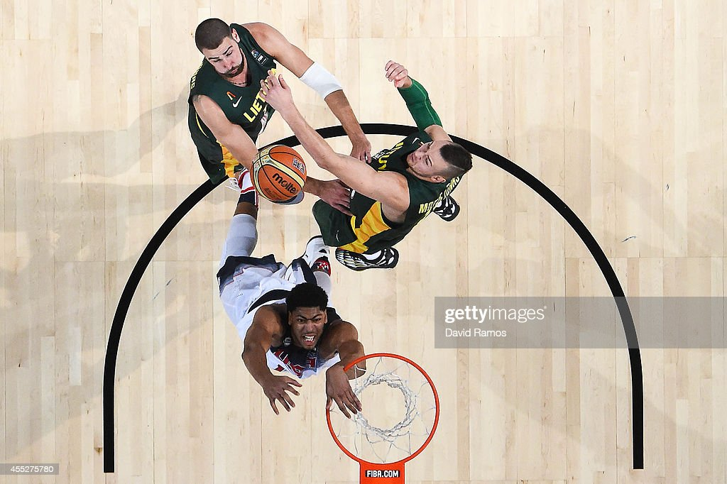 Anthony Davis #14 of the USA Basketball Men's National Team fights for the ball against the Lithuania Basketball Men's National Team during a 2014 FIBA Basketball World Cup semi-final match between USA and Lithuania at Palau Sant Jordi on September 11, 2014 in Barcelona, Spain.