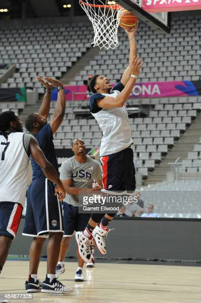 Anthony Davis of the USA Basketball Men's National Team shoots during practice at Palau Sant Jordi on September 5 2014 in Barcelona Spain NOTE TO...