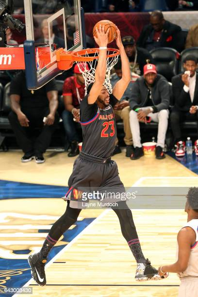 Anthony Davis of the Western Conference AllStar Team dunks the ball during the NBA AllStar Game as part of the 2017 NBA All Star Weekend on February...