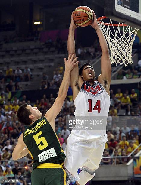 Anthony Davis of USA is in action against Adas Juskevicius of Lithuania during 2014 FIBA World Basketball Championship Semi-Final basketball match...
