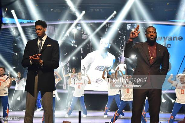 Anthony Davis playing for the West Coast allstars and Dwyane Wade playing for the East Coast allstars comes out to the crowd prior to the 2015 NBA...