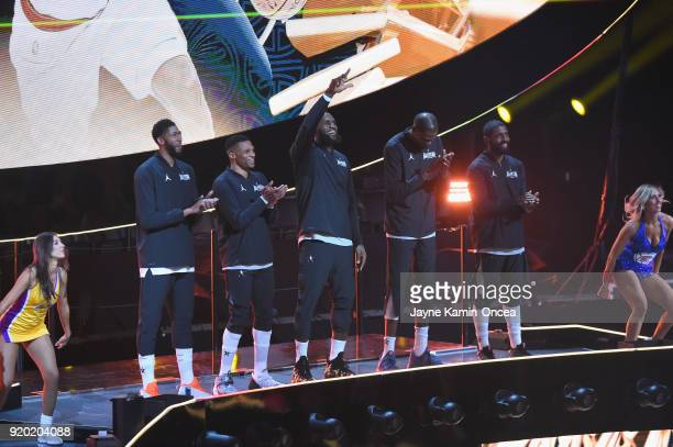 Anthony Davis Russell Westbrook LeBron James Kevin Durant and Kyrie Irving of Team LeBron onstage during the NBA AllStar Game 2018 at Staples Center...