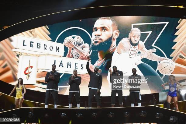 Anthony Davis Russell Westbrook LeBron James Kevin Durant and Kyrie Irving of Team LeBron wave to the fans during pregame introductions during the...
