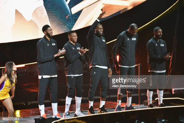 Anthony Davis Russell Westbrook LeBron James Kevin Durant and Kyrie Irving of Team LeBron attend the NBA AllStar Game 2018 at Staples Center on...