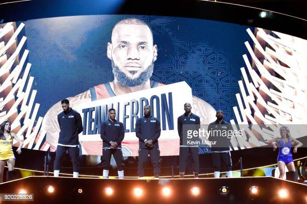 Anthony Davis Russell Westbrook LeBron James Kevin Durant and Kyrie Irving of Team LeBron lineup at the 67th NBA AllStar Game Team LeBron Vs Team...