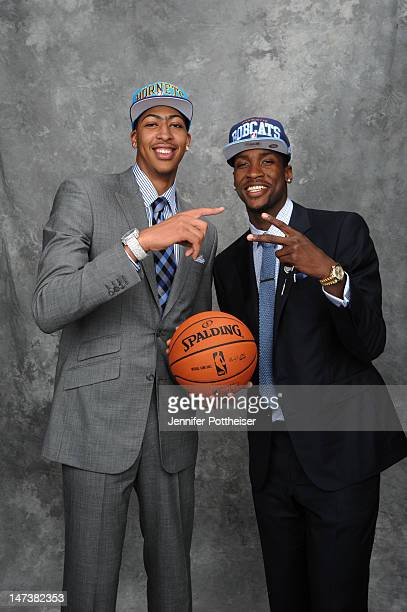 Anthony Davis selected one overall by the New Orleans Hornets and Michael KiddGilchrist selected number two overall by the Charlotte Bobcats poses...