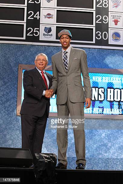 Anthony Davis shakes hands with NBA Commissioner David Stern after being selected number one overall by the New Orleans Hornets during the 2012 NBA...