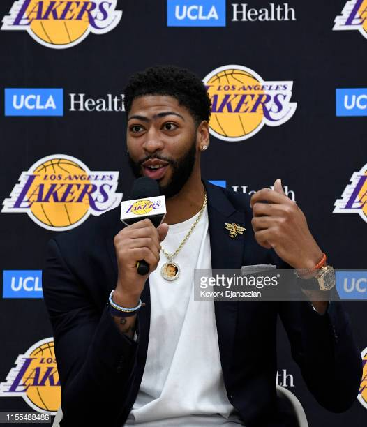 Anthony Davis speaks as he is introduced as the newest player of the Los Angeles Lakers during a press conference at UCLA Health Training Center on...