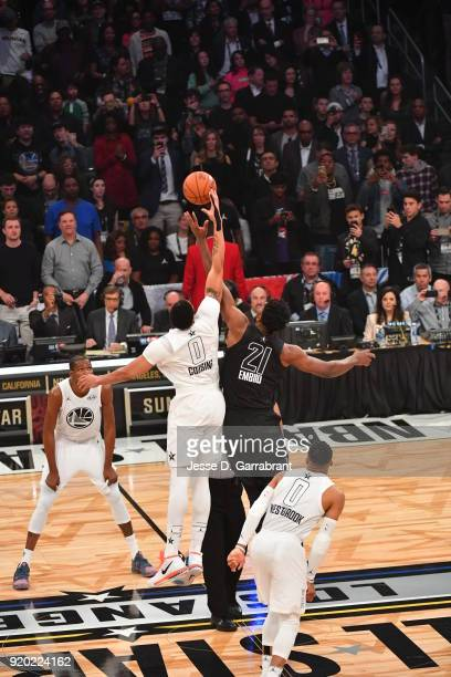 Anthony Davis wearing DeMarcus Cousins jersey of Team LeBron wins the opening tipoff against Team Curry during the NBA AllStar Game as a part of 2018...