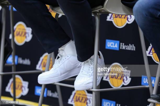 Anthony Davis wearing Nike air force ones during his presentation as new player of Los Angeles Lakers on July 13 at UCLA Health Training Center in El...