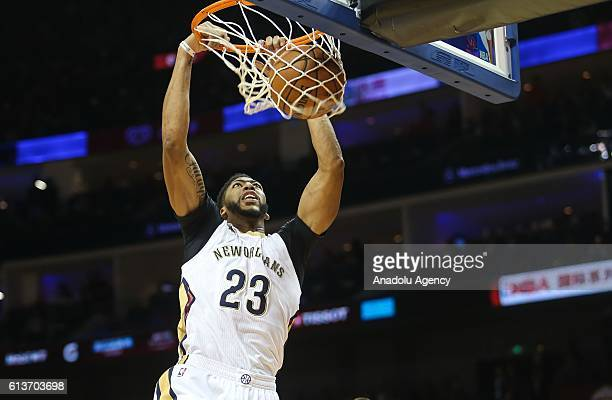Anthony Davis#23 of New Orleans Pelicans in action during the 201617 NBA Global Game at the MercedesBenz Arena in Shanghai China on October 09 2016