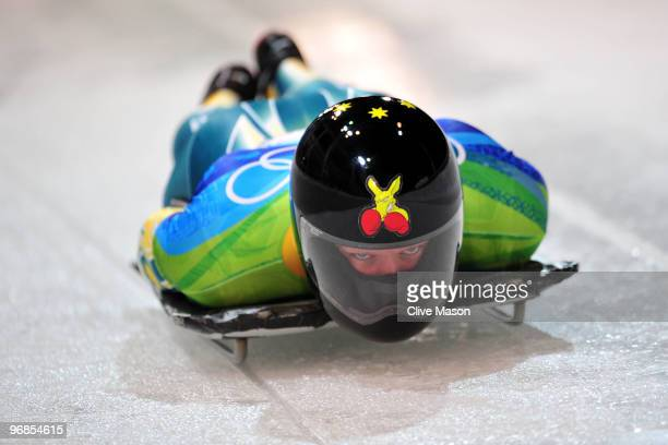 Anthony Deane of Australia competes in the men's skeleton run 1 on day 7 of the 2010 Vancouver Winter Olympics at The Whistler Sliding Centre on...