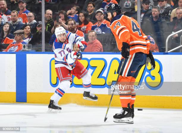 Anthony DeAngelo of the New York Rangers takes a shot during the game against the Edmonton Oilers on March 3 2018 at Rogers Place in Edmonton Alberta...