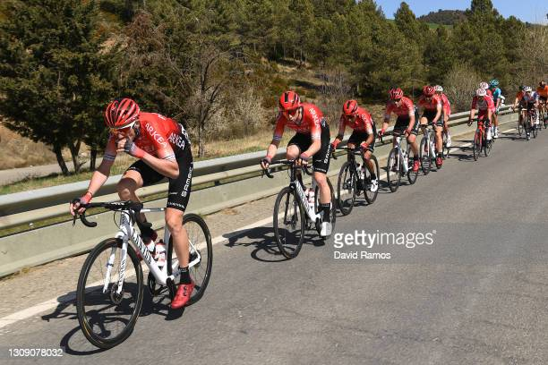 Anthony Delaplace of France, Matis Louvel of France & Nairo Alexander Quintana Rojas of Colombia and Team Arkéa - Samsic during the 100th Volta...