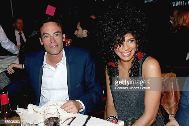 Anthony Delon and friend singer from Shaka Ponk group Samaha Sam attend 'Les P'tits Cracks' Charity Dinner At Pavillon des Champs Elysees on April 25...