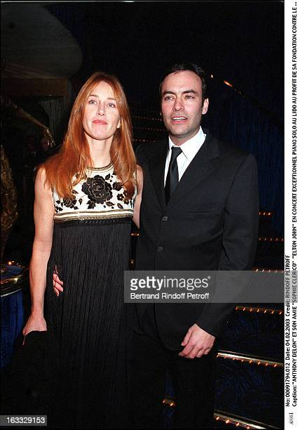 Anthony Delon and his friend Sophie Clerico Elton John exceptional Piano Solo concert at the Lido for the benefit of his foundation against AIDS Paris