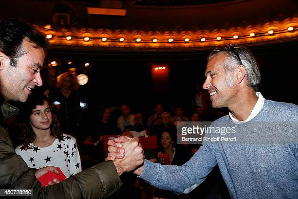 Anthony Delon and Paul Belmondo aattend the 'Concours D'Art Dramatique' at Theatre Antoine on June 16 2014 in Paris France