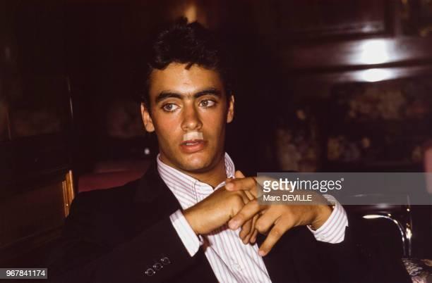 Anthony Delon après un accident de voiture à Bruxelles le 18 aout 1984 Belgique