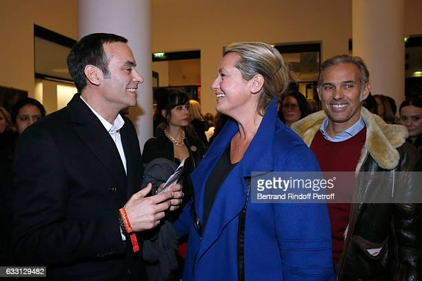 Anthony Delon Luana Belmondo and her husband Paul Belmondo attend the Charity Gala against Alzheimer's disease at Salle Pleyel on January 30 2017 in...