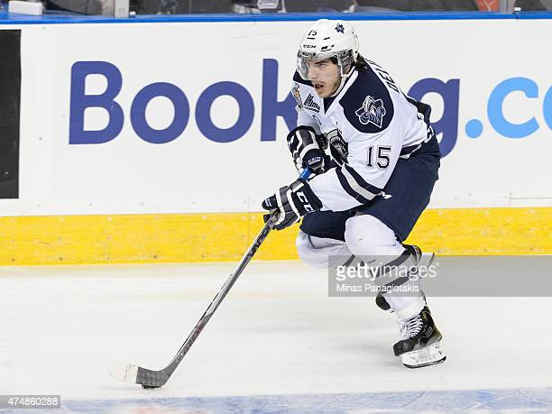 Anthony Deluca of the Rimouski Oceanic moves the puck in Game Two during the 2015 Memorial Cup against the Oshawa Generals at the Pepsi Coliseum on...