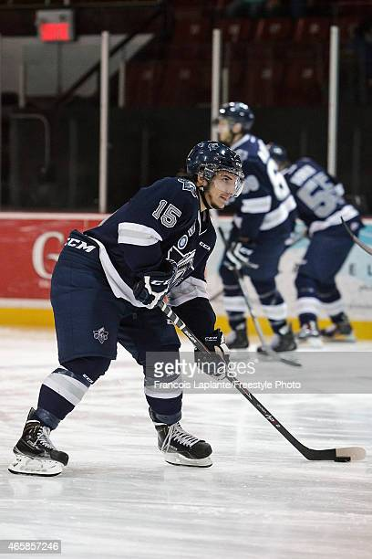 Anthony DeLuca of the Rimouski Oceanic skates with the puck during warmup prior a game against the Gatineau Olympiques on February 22 2015 at Robert...