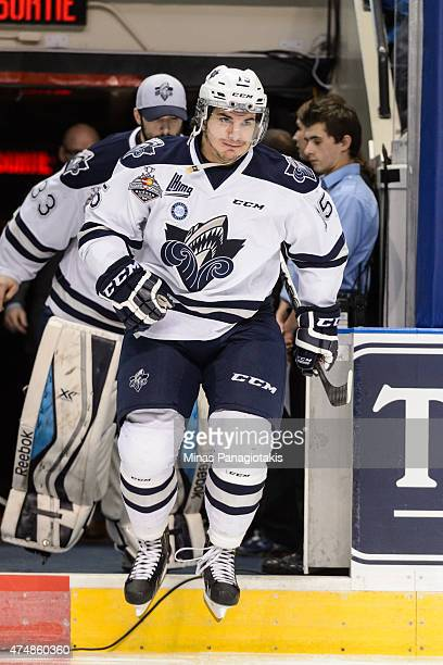 Anthony Deluca of the Rimouski Oceanic takes to the ice in Game Two during the 2015 Memorial Cup against the Oshawa Generals at the Pepsi Coliseum on...