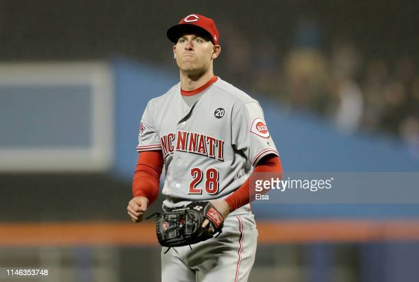 Anthony DeSclafani of the Cincinnati Reds celebrates at the end of the fourth inning against the New York Meagainst the New York Metsat Citi Field on...