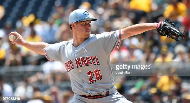 Anthony DeSclafani of the Cincinnati Reds delivers a pitch in the first inning during the game against the Pittsburgh Pirates at PNC Park on June 17...