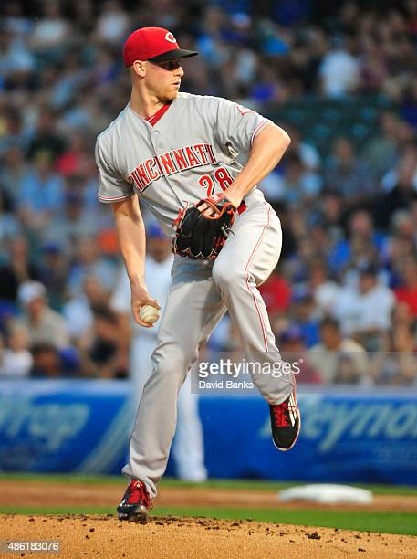 Anthony DeSclafani of the Cincinnati Reds pitches against the Chicago Cubs during the first inning on September 1 2015 at Wrigley Field in Chicago...