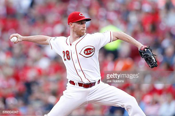 Anthony DeSclafani of the Cincinnati Reds pitches against the Oakland Athletics in the second inning of the game at Great American Ball Park on June...