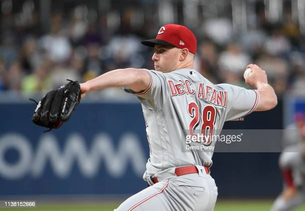 Anthony DeSclafani of the Cincinnati Reds pitches during the first inning of a baseball game against the San Diego Padres at Petco Park April 19 2019...